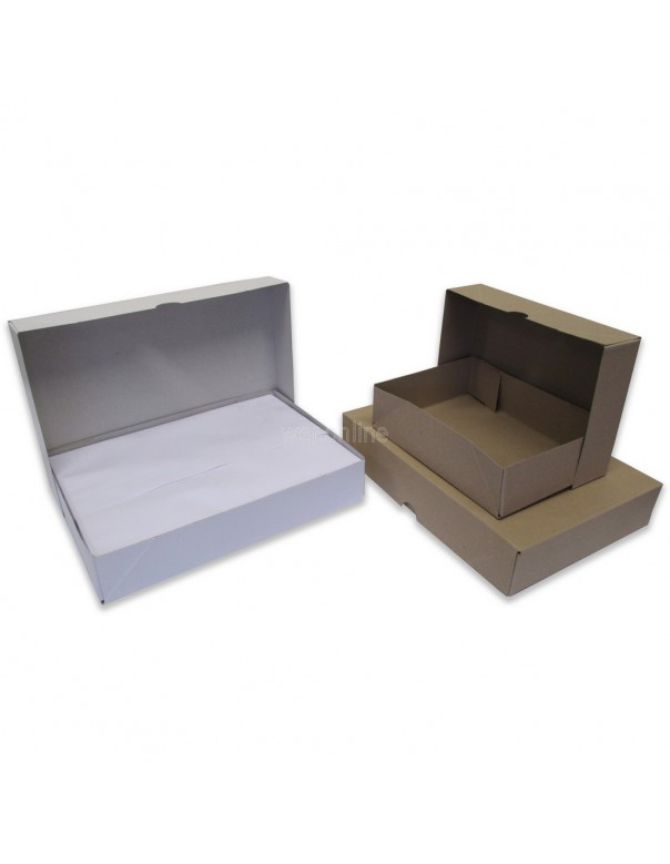 305 x 215 x 57mm A4 Ream Boxes - White Base and Lids
